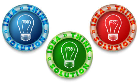 Three icons with color back light and the words idea, think,solution