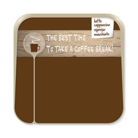 brown box: Brown box for fill your text with cup of coffee and the words the best time to take a coffee break Illustration