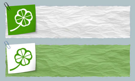 cloverleaf: Two banners of crumpled paper with cloverleaf Illustration