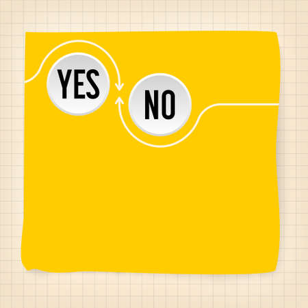 yes no: Yellow slip of paper and the words yes, no