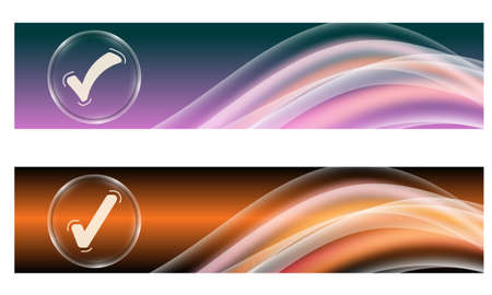 remark: Set of two banners with colored rainbow and check box