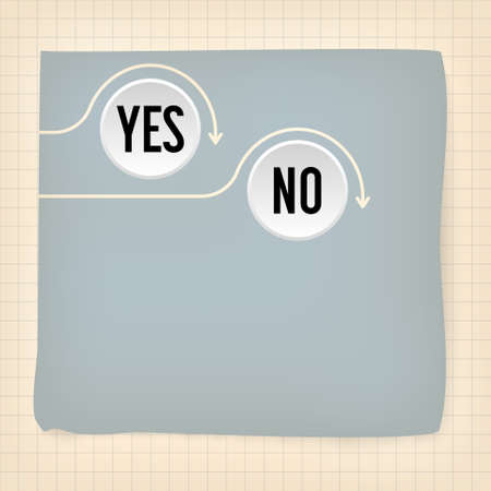 yes or no: Gray slip of paper and the words yes, no Illustration