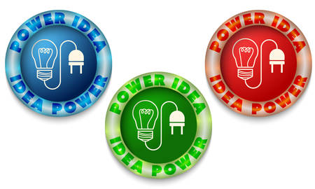 back light: Three icons with color back light and power symbol Illustration
