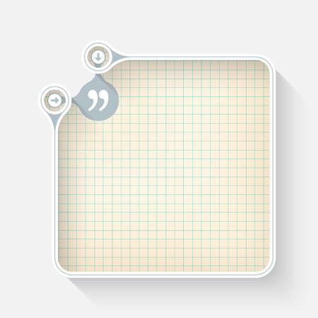 graph paper: A white box for your text with graph paper and quotation mark