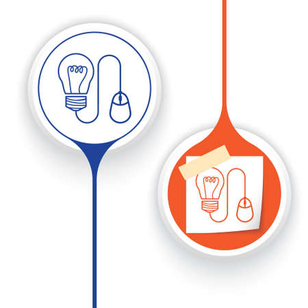 two objects: Two vector objects and idea symbol