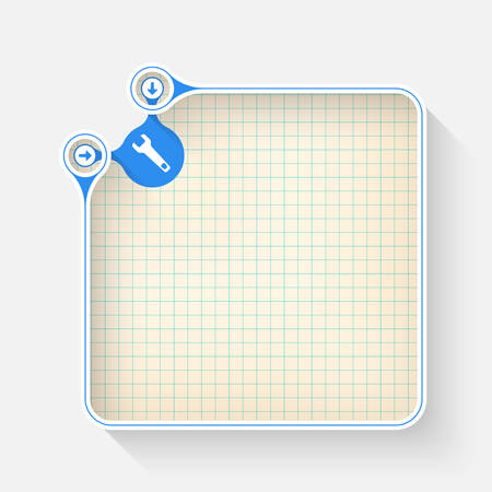 graph paper: A white box for your text with graph paper and spanner