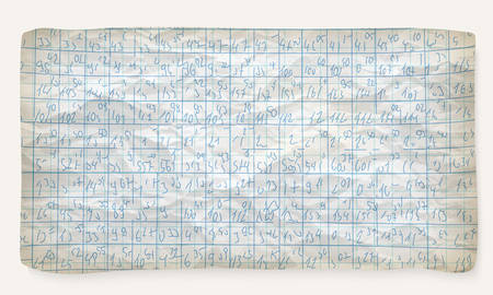 graph paper: Crumpled graph paper and hand written numbers Illustration