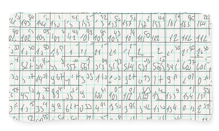 hand written: Graph paper and hand written numbers