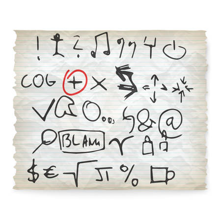 note of exclamation: Vector crumpled lined paper and hand written symbols