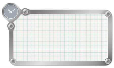 graph paper: Metal frame for your text with graph paper and watches Illustration