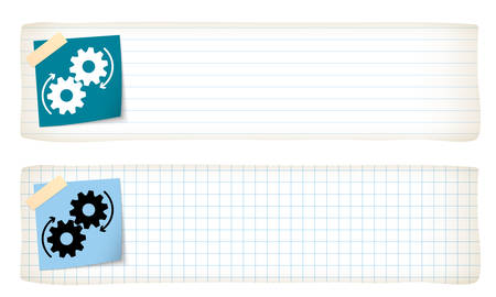 graph paper: Two banners with lined paper, graph paper and the cogwheels