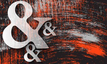 Scratched background and transparent ampersand symbol