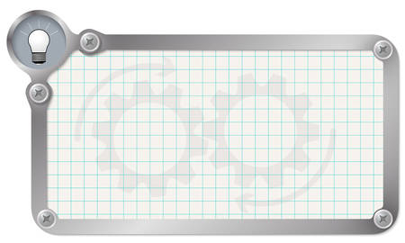 graph paper: Metal frame for your text with graph paper and bulb