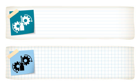 graph paper: Two banners with lined paper, graph paper and tools icon Illustration