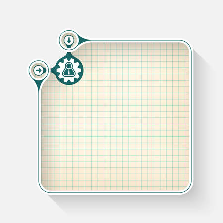 graph paper: A white box for your text with graph paper and cogwheels