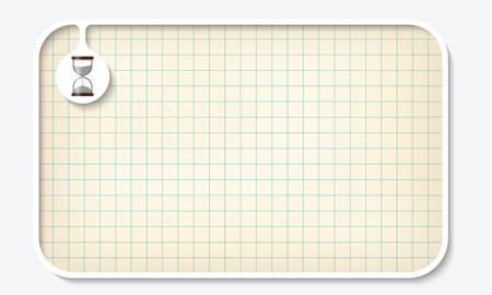 graph paper: Text box for fill your text with graph paper and sandglass Illustration