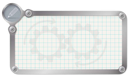 graph paper: Metal frame for your text with graph paper and pencil Illustration