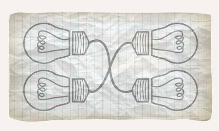 graph paper: Crumpled graph paper with screwdriver and bulb Illustration