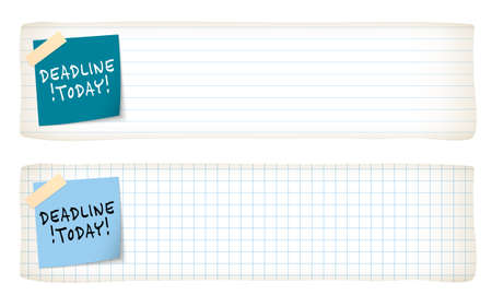lined paper: Two banners with lined paper, graph paper and the words deadline today