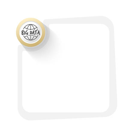 storage data product: Golden circle with globe symbol and gray frame for your text
