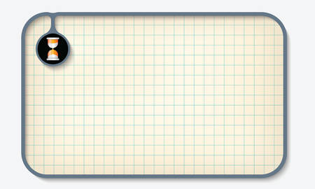 graph paper: Text box for fill your text with graph paper and sand glass Illustration
