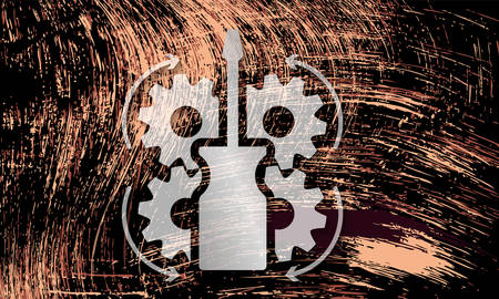 Vector abstract scratched rusty background and tools icon