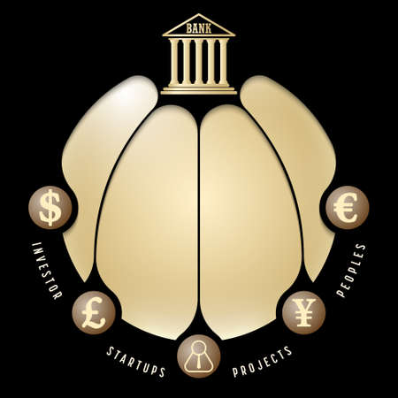 Black info graphic with theme of banking Vector Illustration