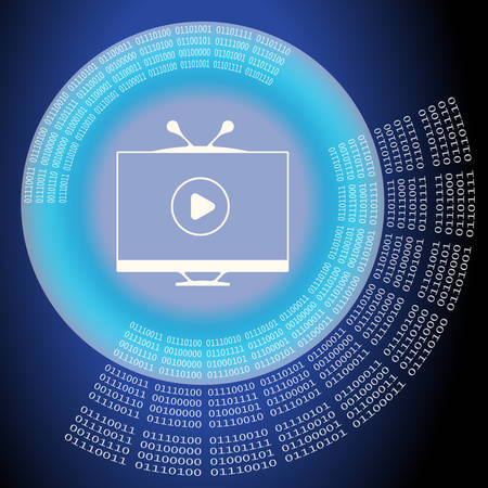 Vector abstract background with circular binary code and tv icon Vettoriali