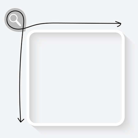 A white text box and magnifier icon