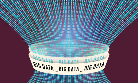Futuristic vector backdrop and binary code and the words big data Illustration