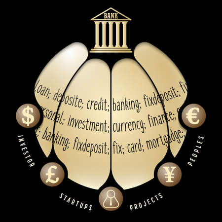 deposite: Black info graphic with theme of banking Illustration