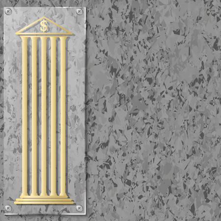 deposite: Background of marble with glass panel and bank symbol Illustration
