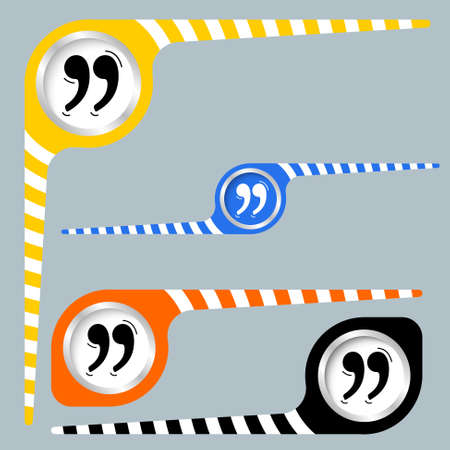 four objects: Set of four objects and quotation mark Illustration
