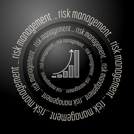 Black vector abstract background with the words risk management and diagram Illustration