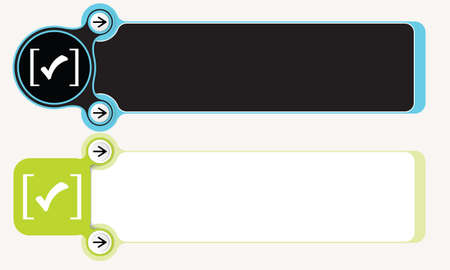 brackets: Two abstract boxes for your text with brackets and check box Illustration