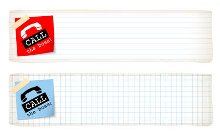 lined paper: Two banners with lined paper, graph paper and the words call the boss Illustration