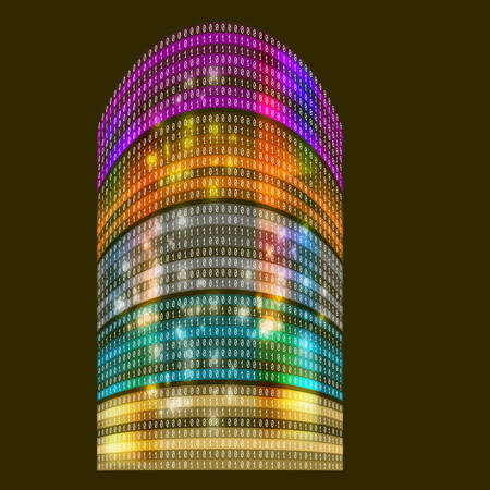 Futuristic skyscrapers with abstract binary code Illustration
