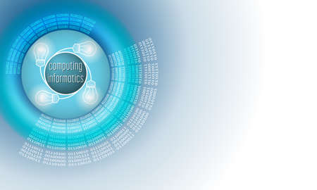 Vector abstract background with circular binary code and the words computing informatics