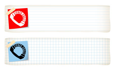Two banners with lined paper, graph paper and the words free call Stock Illustratie
