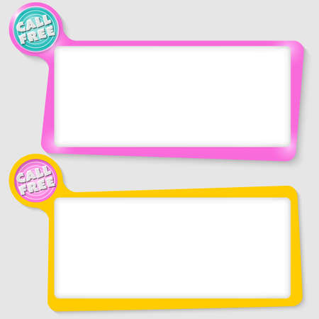 Set of two text boxes for your text and the words call free