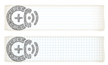 lined paper: Two banners with lined paper, graph paper and hand writen free call icon