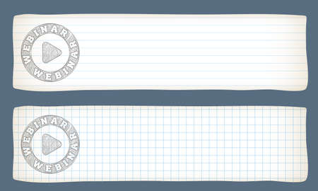 lined paper: Two banners with lined paper, graph paper and hand writen webinar icon Illustration