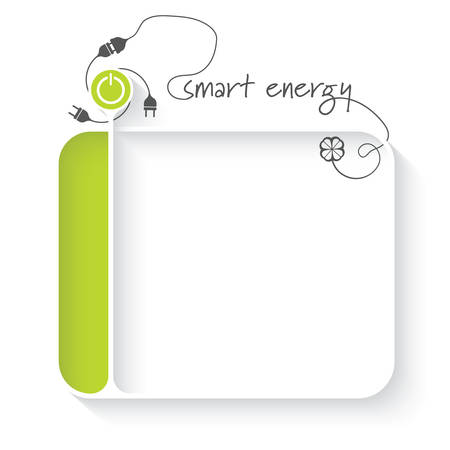 White text box for your text and power button and the words smart energy