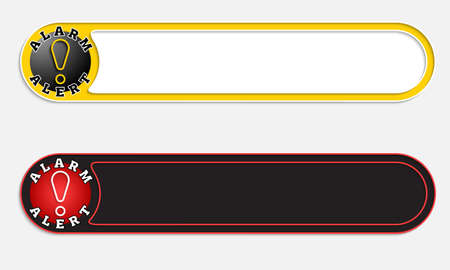 exclamation mark: Two vector abstract buttons and exclamation mark