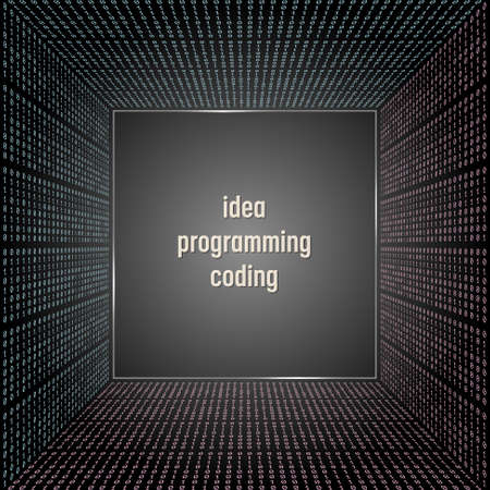 programming code: Vector abstract background with binary code and the words idea, programming, coding