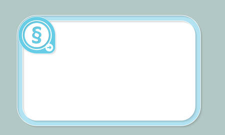 jury box: Blue text frame for your text and paragraph symbol