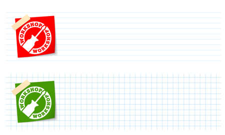 lined paper: Two banners with lined paper, graph paper and workshop icon Illustration