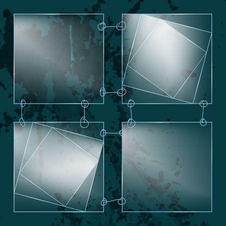 transparent glass: Four abstract transparent glass squares
