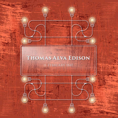 edison: Red background and connected bulbs and headline Thomas Alva Edison