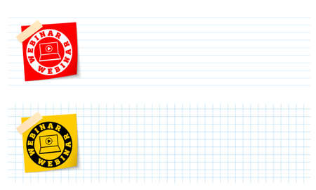 lined paper: Two banners with lined paper, graph paper and webinar icon